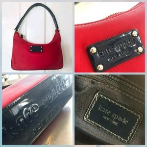 Kate Spade red with navy nylon bag